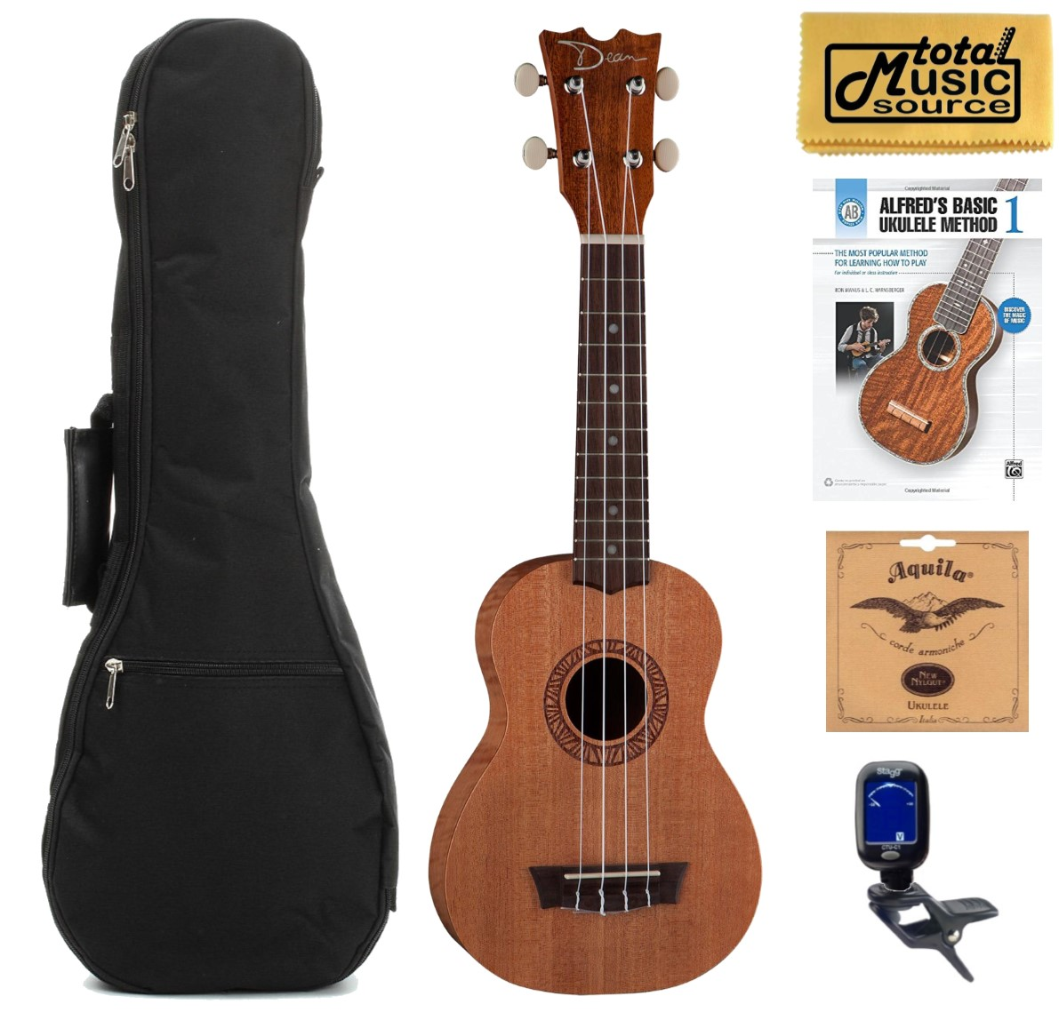 Dean Guitars Ukulele Travel Uke: Dean Guitars Sopranon Mahogany Ukulele, Satin Natural W